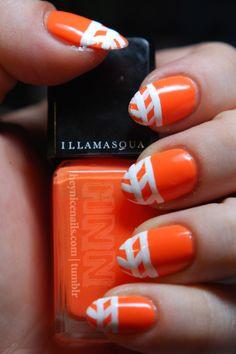 fluorescent arrow stripe nails