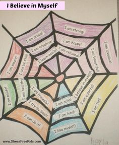 Want to bolster your child's self-esteem? Make an Affirmation Web or get this printout when you Download our Affirmations/Positive Statements Lesson Plan http://www.stressfreekids.com/5223/affirmations Works for parents, teachers, youth leaders. (Photo courtesy of Angela-Brent Harris and her Color Me Happy Club)