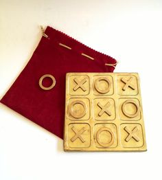 Mid Century Brass Tic Tac Toe Table Game