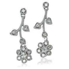 Whitegold Diamond Earrings  Diamant Ohrstecker Blumen Blüten mit Blätter 0,70ct Diamanten in Weissgold