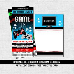 VIDEO GAME TICKET Invitations  + Free Thank You Card (printable files) Gamer Birthday Party - by nowanorris on Etsy