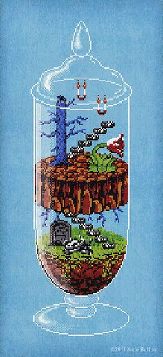 """8-Bit Terrarium, based on """"Castlevania"""", for Giant Robot's """"Game Over 4"""" exhibition By Jude Buffum"""