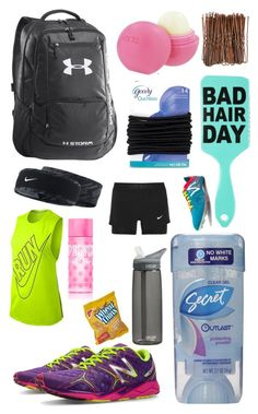 """""""What's in my track bag"""" by mpfurgason ❤ liked on Polyvore featuring Eos, Goody, NIKE, New Balance, Victoria's Secret PINK and CamelBak"""