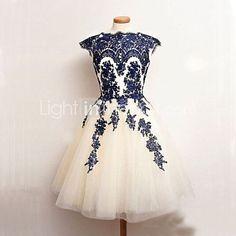 Women's Noble Lace Splicing Round Sleeveless Slim Princess Dress - USD $ 22.99