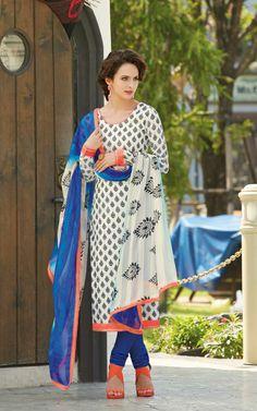 BLUE & OFF WHITE BHAGALPURI SILK SALWAR KAMEEZ - DIF 29101
