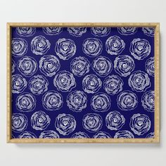 Buy 'Doodle Roses' Navy Blue and White serving tray by  Notsundoku | Society6. A repeat pattern of hand drawn doodle roses. #repeatpattern #patterns #roses #doodles #doodleart #flowers #handdrawn #Notsundoku #Society6 #servingtray #tray #trays #entertaining #kitchenware  #homedecor
