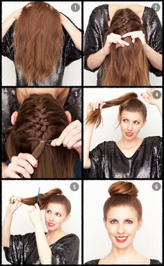 If I could get my girls to sit long enough upside down!  French plait and bun.  Put your head down and brush hair forward. Add product to root to start off plait more easily. French plait bottom up until you get to where you want the bun. Secure the plait with a hair tie. Gather all your hair into a high ponytail and check it in the mirror. Pin as a bun