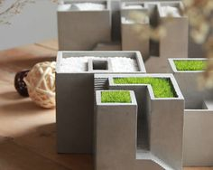 Handmade Concrete Architecture Stairs Decorative Succulent Planter Flower Pot