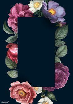 Black Background Wallpaper, Poster Background Design, Framed Wallpaper, Background Patterns, Flower Backgrounds, Wallpaper Backgrounds, Molduras Vintage, Flower Phone Wallpaper, Hand Drawn Flowers