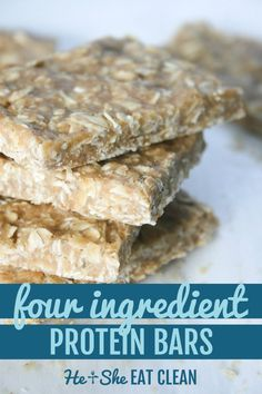 Looking for the perfect grab-and-go breakfast for your busy life? Try these simple FOUR Ingredient Protein Bars. #eatclean #proteinbar #healthyrecipe #cleaneating #weightwatchers #glutenfree #heandsheeatclean