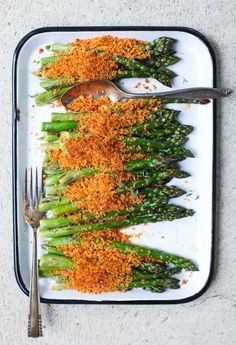 Roasted Asparagus with Harissa Brown Butter Breadcrumbs || Simple Bites