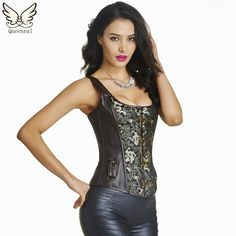 b89ca606f50 Leather steampunk corselet gothic clothing waist trainer sexy lingerie  slimming party corsets bustiers Corset Bustier