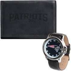 Men's New England Patriots Black Leather Watch & Wallet Set