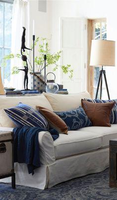neutral sofa + indigo pillows. love