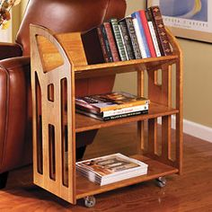 A handsome wood bookcase on wheels  Keep books and reference materials accessible wherever you are with this mobile bookcase. The Book Buggy works beside a desk or reading chair and rolls easily to a wall or closet for storage.