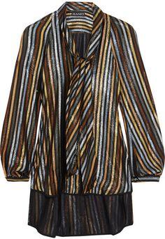 Haney - Diane Pussy-bow Striped Silk-blend Lamé Blouse - Metallic