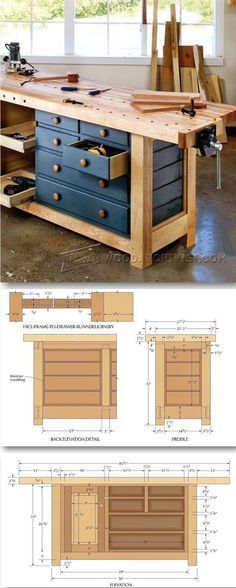Shaker Workbench Plans - Workshop Solutions Projects, Tips and Tricks | WoodArchivist.com #woodworkingtips