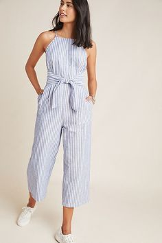 Chilmark Linen Jumpsuit by Greylin in Blue Size: L, Women's Jumpsuits at Anthropologie Source by anthropologie for women Teen Fashion Outfits, Trendy Outfits, Summer Outfits, Cute Outfits, Fall Outfits, Striped Outfits, Jumpsuit Outfit Dressy, Jumper Outfit Jumpsuits, Summer Jumpsuit
