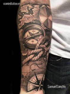 Sextant and Compass Tattoo - Best Compass Tattoos For Men: Cool Compass Tattoo D. - Sextant and Compass Tattoo – Best Compass Tattoos For Men: Cool Compass Tattoo Designs and Ideas - Map Tattoos, Neue Tattoos, Best Sleeve Tattoos, Tattoo Sleeve Designs, Forearm Tattoos, Tattoo Designs Men, Tattoo Quotes, Tatoos, Compass Tattoo Forearm