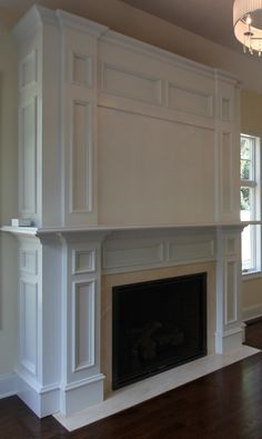 Don't think I want to build it up to the crown molding.it looks too heavy to me. Fireplace Molding, Fireplace Bookcase, Fireplace Redo, Fireplace Built Ins, Fireplace Remodel, Living Room With Fireplace, Fireplace Surrounds, Fireplace Design, Living Room Built Ins
