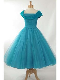 50's Dusty Aqua Tulle and Velvet Tea Length Party Dress
