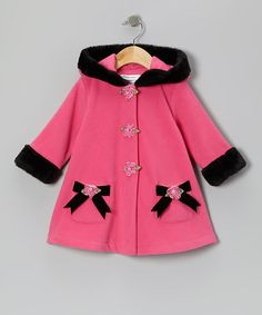 Take a look at this Fuchsia Bow Fleece Hooded Swing Coat - Infant, Toddler & Girls by Gerson & Gerson on #zulily today!