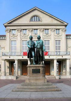 Statue of German Poets Goethe and Schiller in Front of the Weimar National Theatre.