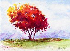 """Autumn High"" transparent watercolor by Bette Orr.....        www.betteorr.com"