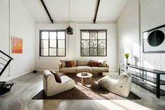 Warehouse living room interior by techne architects Warehouse Kitchen, Warehouse Living, Warehouse Loft, Warehouse Design, My Living Room, Living Room Interior, Living Area, Living Spaces, Home And Living