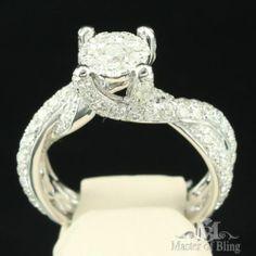 Twisted Design 14k White Gold Band Round Pronged 2.55Ct Diamond Engagement Ring