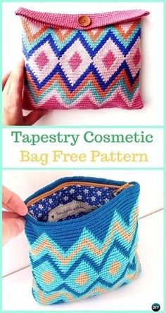 Crochet Purses Ideas Tapestry Cosmetic Bag Free Pattern -Tapestry Crochet Free Patterns - Wayuu Mochila Tapestry Crochet Free Patterns Tips Crochet Diy, Crochet Pouch, Crochet Crafts, Crochet Bags, Crochet Ideas, Crochet Projects, Diy Crafts, Tapestry Crochet Patterns, Crochet Purse Patterns