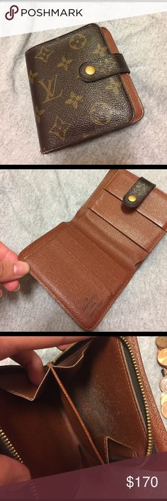 Louis Vuitton monogram wallet Used. Snap closer feels a little loose but still closes completely and functions well. Some wear in coin slot. (Resell- I have no need for it) Louis Vuitton Bags Wallets