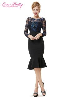 360dc2740afbee Cocktail Party Dresses Ever Pretty HE08455 Unique Sexy Lacey Long Sleeve  Black Cocktail Dress For Women 2017-in Cocktail Dresses from Weddings    Events on ...