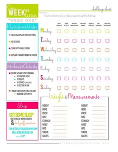 Week 1 Fitness Challenge Sheet - FREE INSTANT DOWNLOAD