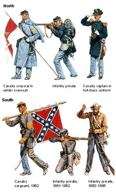 American Civil War Uniforms- The Union and the Confederacy wore different uniforms to distinguish from eachother during the Civil War. The Union typically wore navy blue long frock coats while the Confederates wore grey on frock coats that were a tad shorter.