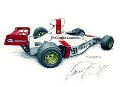 """Hill Embassy Shadow DN1-3A Autographed by Damon Hill OBE  I sketched this live at the 2016 Race Retro sitting in the MotorSport magazine stand.  Pen&ink, markers and Jack Daniels Honey Whiskey on 12""""x 9"""" watercolour paper. © Paul Chenard 2016  Original art SOLD. Limited editions available."""