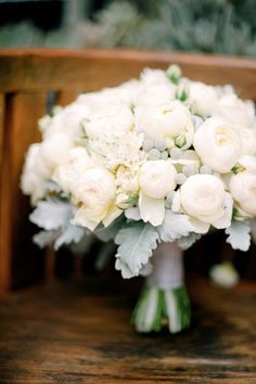 white peony bouquet | Photo by Byron Loves Fawn