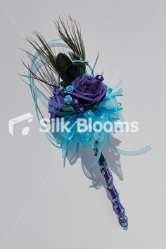 flowergirl wand, purple-rose-with-peacock-feathers this would be perfect for girls
