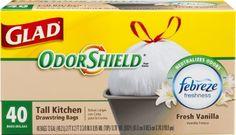 Kitchen Drawstring 13 Gallon 80pcs HOT Gripper Trash Garbage Bags Odor Control