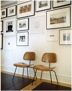 Gallery wall - simple mix of Ribba frames. Keeping the frames approx. the same size = cleaner look.