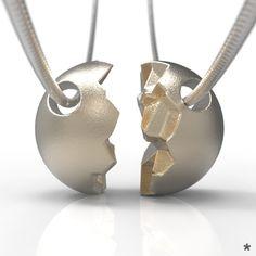 Für dich und deine bessere Hälfte ;) Zusammenpassende Anhänger aus Edelstahl von uns mit Liebe modelliert und mittels 3D Druck für dich produziert :) Stainless Steel, Printing, Amor