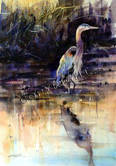 HERON  Watercolor Bird Art Print By Dean Crouser