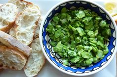 perfect summer starter: fava bean, mint, & pecorino crostini.