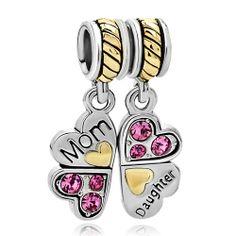 Pugster Heart Love Mom Dangle European Charm Bead Fit Charm Bracelet Gifts | eBay