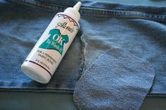 Easy way to repair holes in jeans @ http://kelleighratzlaff.com/life/patching-jeans-my-no-sew-method/