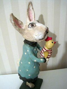 White Rabbit papier mache folk art handmade art by Joannabolton