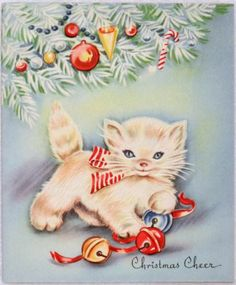 #835 40s Pretty Kitty Cat Under the Tree-Vintage Christmas Greeting Card