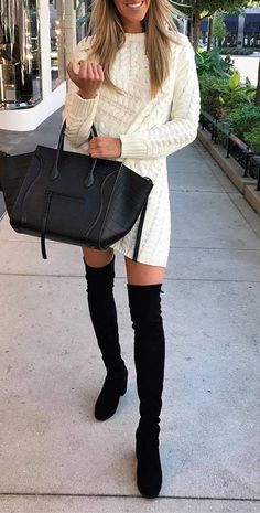 awesome winter outfit / knit sweater dress + bag + over knee boots