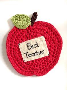 Crochet apple coaster with personalised message - teachers gift crochet вяз Crochet Apple, Crochet Fruit, Cute Crochet, Crochet Fall, Crochet Teacher Gifts, Teacher Christmas Gifts, Diy Gifts For Teachers, Crochet Bookmarks, Teacher Appreciation Gifts