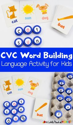 May 18, 2020 - Use this activity to turn boring flashcards into a fun hands on language activity. Your kindergartner or first grader can build CVC words to practice reading and spelling. As always, you can adapt this activity to match your child's skill level. If you don't have a set of letter maniuplatives you can make your own […] Word Work Activities, Alphabet Activities, Language Activities, Hands On Activities, Literacy Activities, Infant Activities, Preschool Literacy, Early Literacy, Vowel Activities